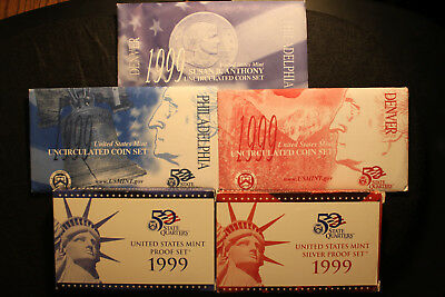 1999 US Silver Proof Set, Proof set and mint set Coins, W/ Box's and COA's