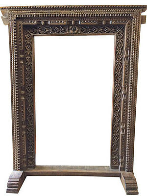 JAIPUR ARCH CARVED FLOOR MIRROR DOOR FRAME ARCHITECTURAL ANTIQUE WELCOME GATE18c