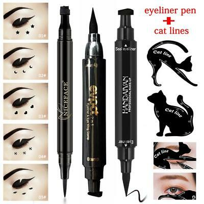 Beauty 1Pc Dual-ended Eyeliner Pen with Stamp Seal+2Pc Cat Eyebrow Template Card