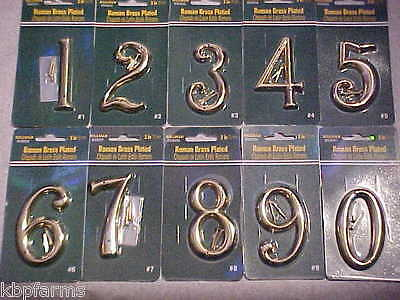 "HILLMAN Roman Style 3"" BRASS PLATED Zinc Metal Die-Cast NEW HOUSE NUMBERS"