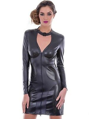 Sexy Damen Minikleid Wetlook MIni Kunstleder Kleid Stretchminikleid Kleid 705901