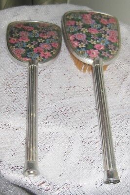 Vintage Hair Brush and Hand Mirror Set - Floral Design