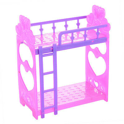 US Barbie Doll Plastic Double Bunk Bed Frame Bedroom Furniture Kid Toy Gift