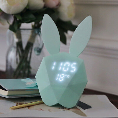 Cute Rabbit Digital Snooze LED Alarm Clock Backlight Thermometer Temperature