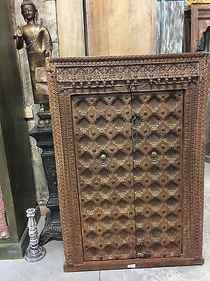 Antique Indian Floral Carved Window Frame Double Door Panels Wooden Jharokha