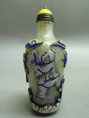 Chinese Peking Glass Carved Children Tree Bat Pattern Snuff Bottle