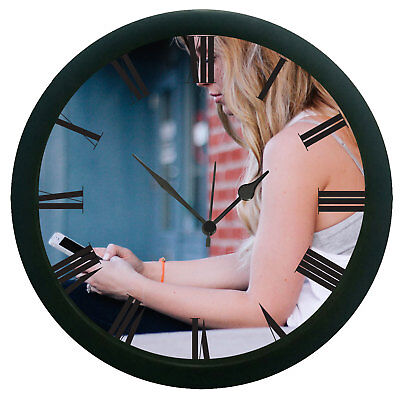Girl With Phone 3D Wall Clock Removable Home Decor Art Design Watch