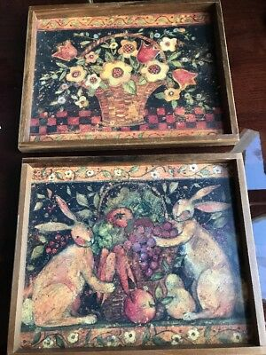 Lot 2 Vintage Rustic Flowers Rabbits Fruit Basket In Wood Frames Wall Pictures
