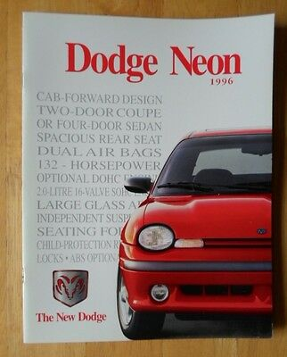 DODGE Neon Coupe & Sedan orig 1996 Canadian Mkt sales brochure