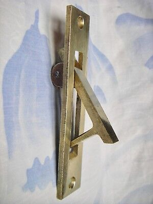 "Nos Vintage 5"" Solid Brass Pocket Door Edge Pull Flush Mount"