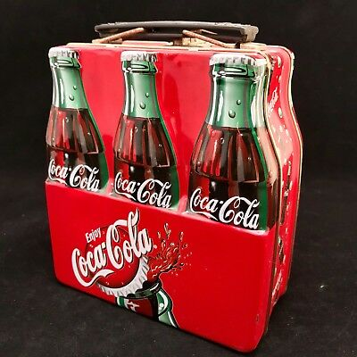 Vintage Coca Cola Metal Lunch Box Tin 5.5 x 6 x 3 Inches