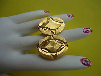 Vtg Stunning Large Pair Of Oval Men's Cuff-Lings Gold Plate Very Beautiful