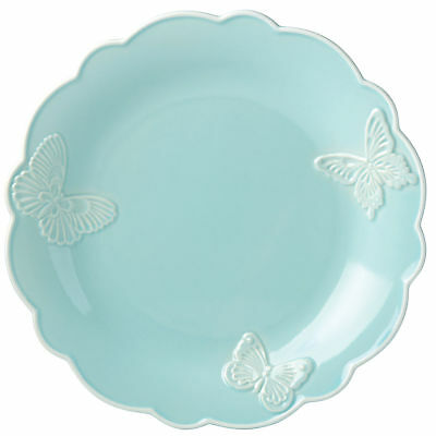 """Butterfly Meadow Carved Blue 11"""" Dinner Plate by Lenox - Set of 4"""