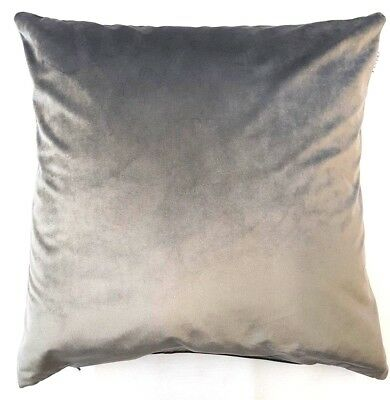 "Silver Grey Luxury Soft Velvet 20"" Cushion Cover £6.49 Each Made In The Uk"
