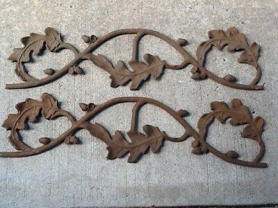 Vintage Pair Cast Iron Rusted Acorn Leaf Salvage Architectural Farmhouse Shabby