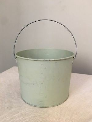 Vintage Original Paint Light Green Galvanized Bucket- FREE SHIPPING