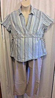 Motherhood Maternity 2 Pc Set Blue Tan White Striped Shirt Tan Capris Size 2X