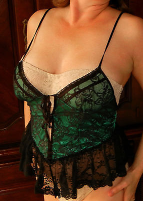 Incredibly Sexy!!! Frederick's Of Hollywood Vintage Satin Sheer Lace Cami Nwot
