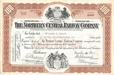 The Northern Central Eisenbahn-compagny Zertifikat 1952 (519)