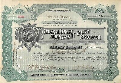 Federal Street & Pleasant Valley Passenger Railway Company Certificate 1894