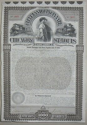 The Cleveland, Cincinnati Chicago and St Louis Raiway compagny certificate(3407)