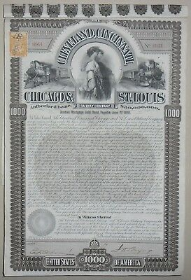 The Cleveland, Cincinnati Chicago and St Louis Raiway compagny certificate(6941)