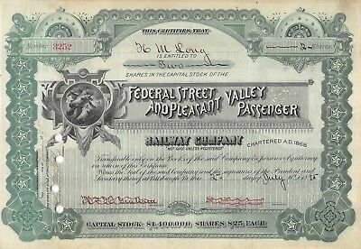 Federal Street & Pleasant Valley Passenger Railway Company Certificate 1895