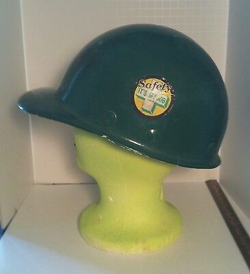 Vintage 1950's Green Fiberglass Ironworker's Fibre Metal Hard Hat Made In USA