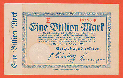 Kassel Cassel  1 Billion Mark  P.S1168  Deutsches Reichsbahndirektion (113