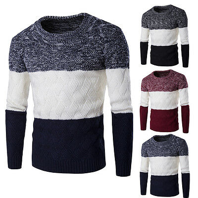 Casual Men Round Neck Fashion Knit Sweater Pullover Knitwear Jumper Coat Tops