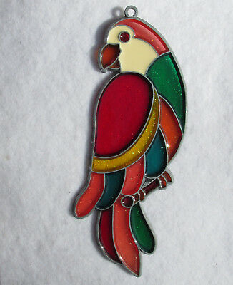 Multicolor Parrot Suncatcher Stained Glass Style Acrylic Window Hanger