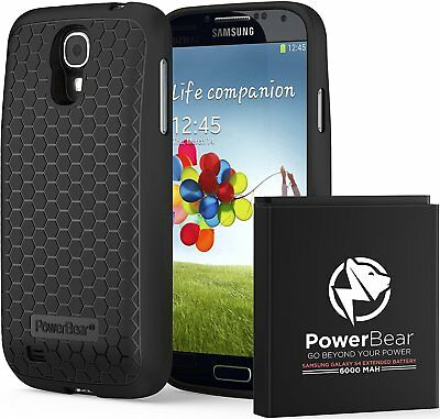 PowerBear Samsung Galaxy S4 Extended Battery [6000mAh] & Back Cover & Protective