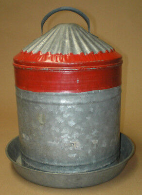 Vintage Galvanized Metal Chicken Poultry Waterer Painted Red Stripe Ring