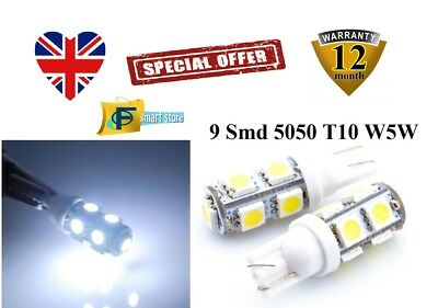Upto 10X 9 Smd Xenon Led 5050 T10 W5W Push Wedge Capless White Side Light Bulbs