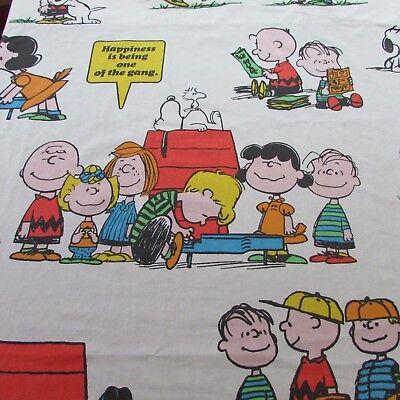 SNOOPY PEANUTS GANG FLAT SHEET FOR TWIN BED c. 1971 VINTAGE LUCY CHARLIE BROWN