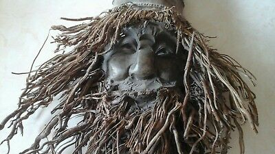 unusual hand carved  wooden root face pre owned old man beard wall hanging decor