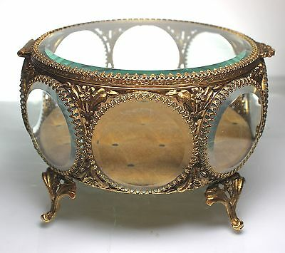 Vintage Stylebuilt 24kt gold plated ormolu 8 panel beveled glass jewelry casket