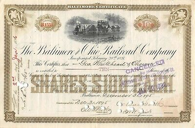 The Baltimore and Ohio Railroad compagny 1895 certificate 10 shares