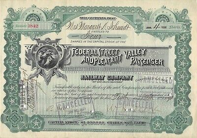 Federal Street & Pleasant Valley Passenger Railway Company Certificate 1898