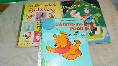 Little Golden Book Winnie The Pooh, Donald Duck & Santa, Dictionary Please Read