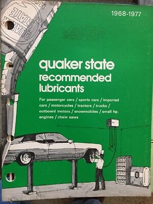 Quaker State Oil Recommended Lubricants Catalog Manual 1968-1977 Vintage