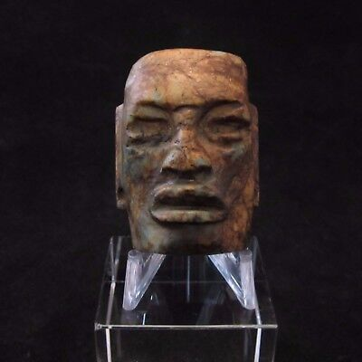 Ancient Pre-Columbian Small Mayan Stone Mask Pendant ~ Private collection
