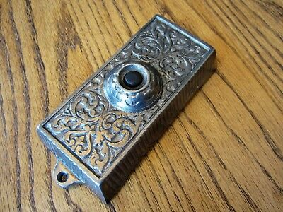 MINT! Ornate Eastlake Cast Iron Doorbell Victorian House Porch Wall Mount Button