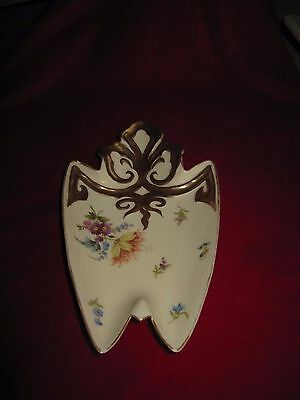 Vintage Carlsbad China Austria - Hand Painted Floral Design Dish With Gold Trim