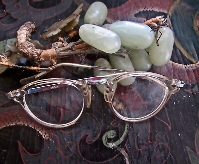 Vintage 40's Womens Clear Plastic And Detailed Art Deco Silver Plate Eyeglasses