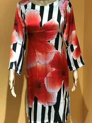 Digital Print Silk Kurti Tunic Medium and Large Rose Floral Design with Stripes