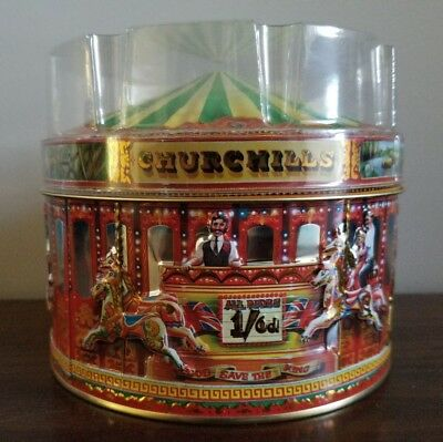 VINTAGE Tin Churchill's Carousel Candy Green Top NEAR-MINT CONDITION Valentine's