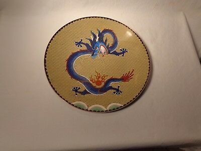 """Rare Beautiful Chinese Cloisonne Cobalt Blue Red 5 Toed Dragon 10 1/8"""" Plate- Nr"""