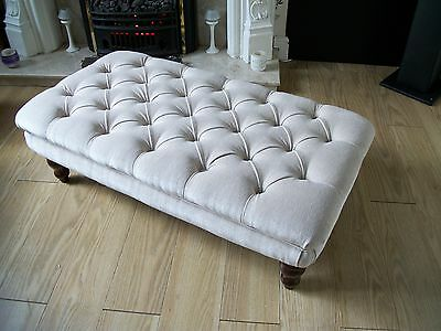 Deep Buttoned Chesterfield Footstool  Coffee Table Oxford Style Chenille velvet