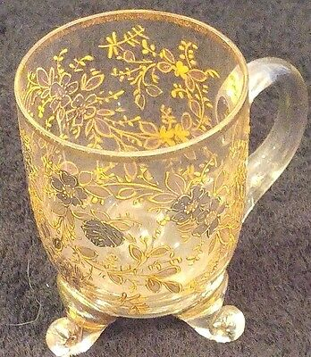 Petite 3 footed small glass cup with gold accents